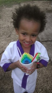 He loves the rainbow flavor!